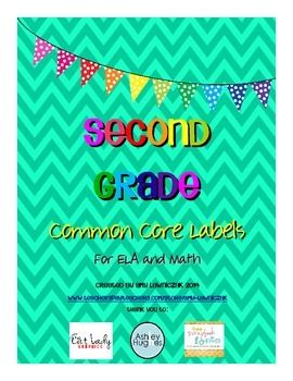 Common Core Labels for Second Grade - all second grade ELA and math standards ready to print on 2x4 labels for easy planning and organizing!