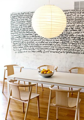 Love this wall of handwritten script. Great idea for a store or restaurant as well...