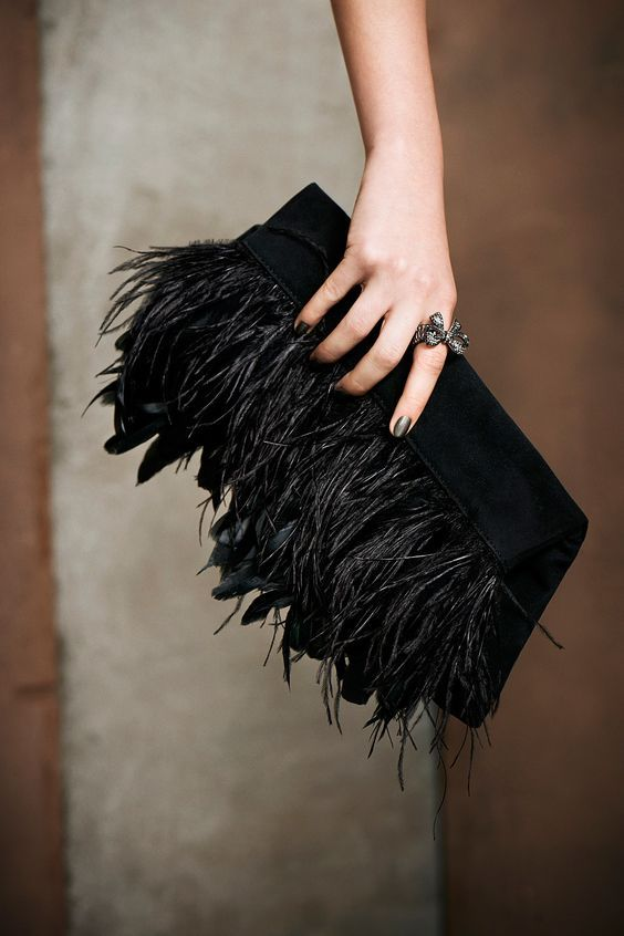 Black feather clutch