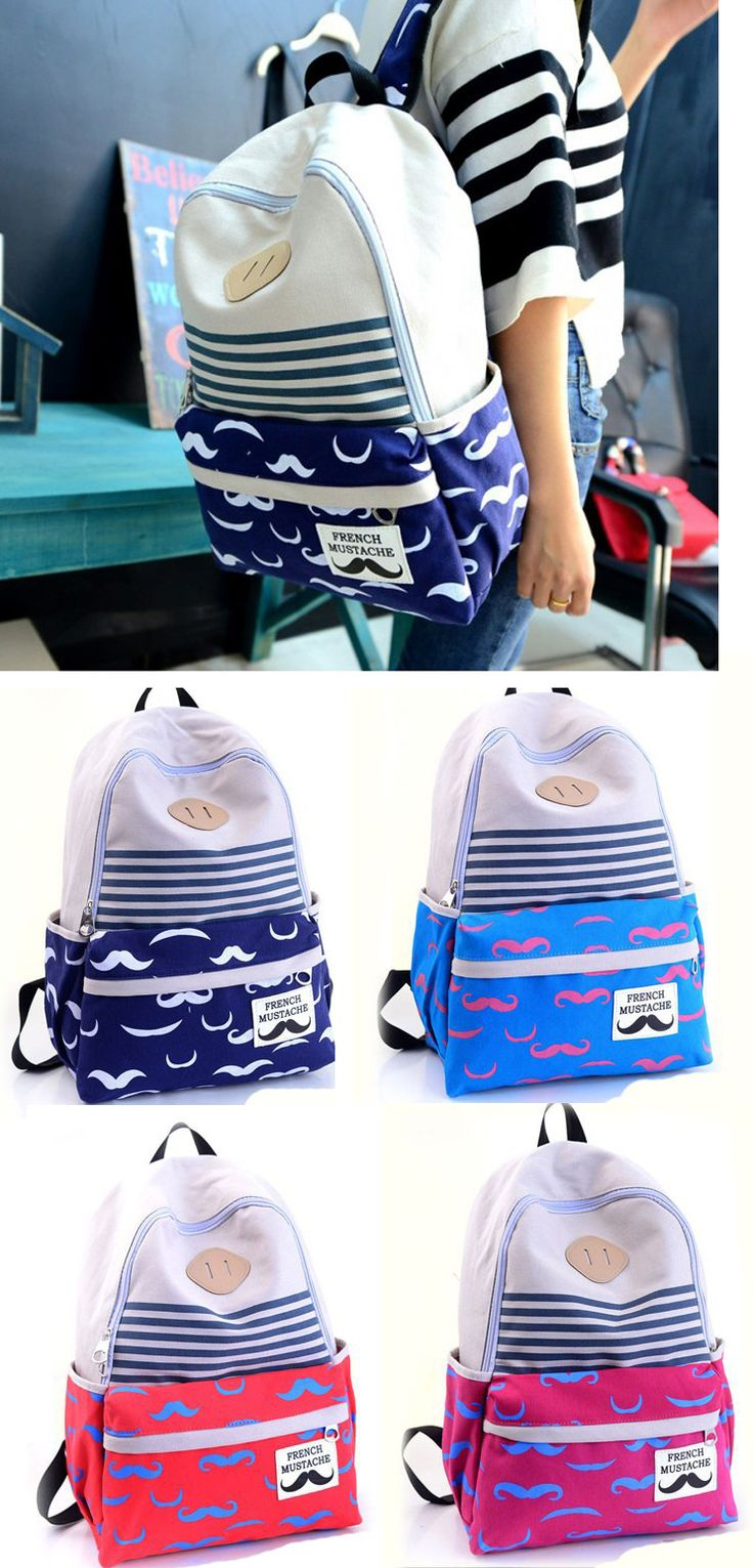 2017 New Arrival Fresh Sweet Cute Mustache Striped College Backpack Satchel backpack for college student best,backpack for college fashion,backpack for girls teens,backpack for girls school,backpack for girls fashion,backpack for girls cute,backpack gear,backpack hiking,backpack hiking women,backpack laptop,backpack laptop women,backpack laptop women work bags,backpack laptop women fashion,backpack laptop women travel