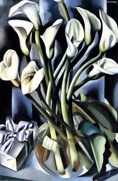 Tamara de Lempicka (Polish, 16 May 1898 – 18 March 1980): title unknown [Calla Lillies], Oil on canvas. Art-Deco style.