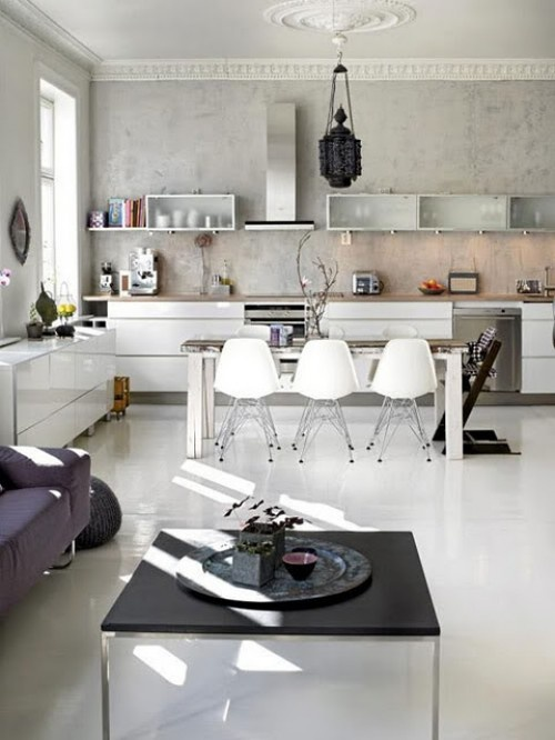 clean and modern with a touch of human beings actually lives there