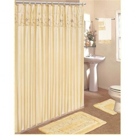 18 pc bathroom rug set beige flower bath rugs shower for Beige bathroom set