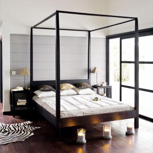 Lit baldaquin fait en 2x4 blanchis chambre pinterest - Lit baldaquin 140x200 ...