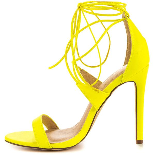 Liliana Women's Flight - Neon Yellow (33.590 CLP) ❤ liked on Polyvore featuring shoes, neon yellow shoes, sexy shoes, high heel shoes, lace up high heel shoes and laced shoes