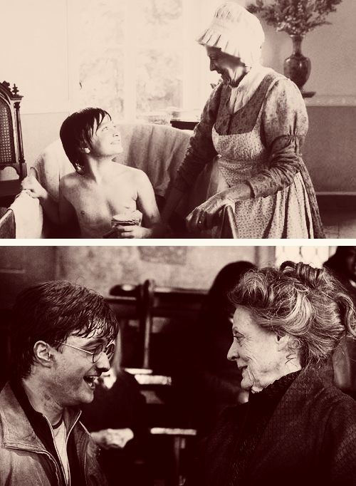 """Well she got me the job at Potter, practically, so for anyone who doesn't know that story, I basically owe everything to Maggie Smith because I worked with her on David Copperfield and then she came on to Potter as McGonagall and said to the director, 'You need to audition this boy.' So I kind of owe her everything, so to Maggie I just say my fairy godmother."" —Daniel Radcliffe ""Daniel was so lovely to work with. I'm so glad I insisted they see him for the part."" —Maggie Smith"