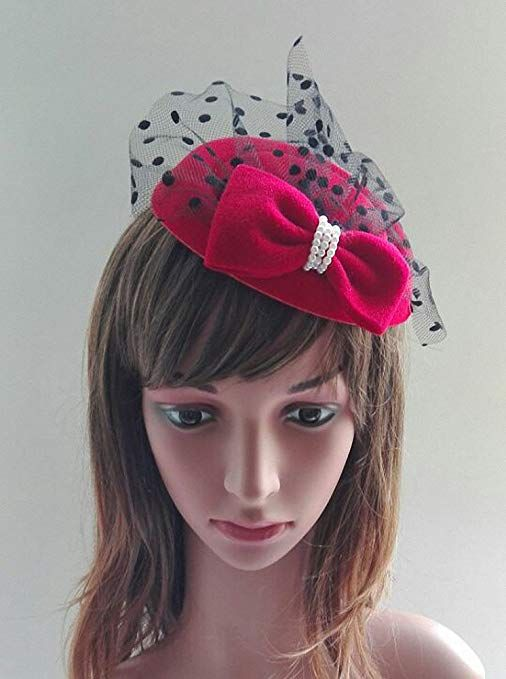 1940s Style Hats Womens Fascinators Hat Pillbox Hat Cocktail Party Hat with  Dot Veil Bowknot Hair Clip  8.89 AT vintagedancer.com 1283ce37f85
