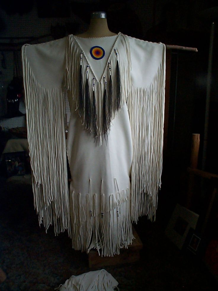 American Indian Wedding Dresses | White elk hide dress suede side out with beaded rosette, horse hair ...
