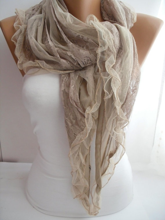 Beige Elegance Scarf Shawl with Lacy Edge by DIDUCI on Etsy, $22.00