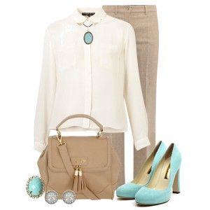 Голубые туфли, бежевые брюки, светлая рубашка, светло-коричневая сумка, украшения с бирюзой