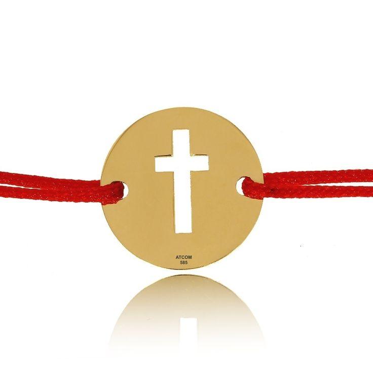 Bratarica din aur cu snur reglabil Banut cu cruciulita