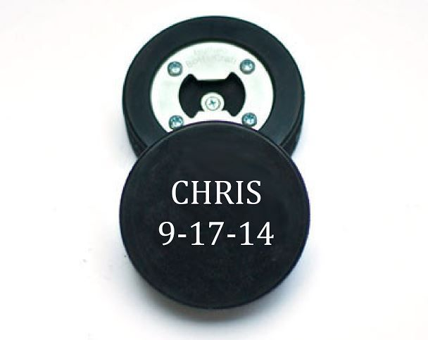 What a fun groomsman gift for hockey fans. A real hockey puck is turned into a bottle opener and then personalized. Wow!