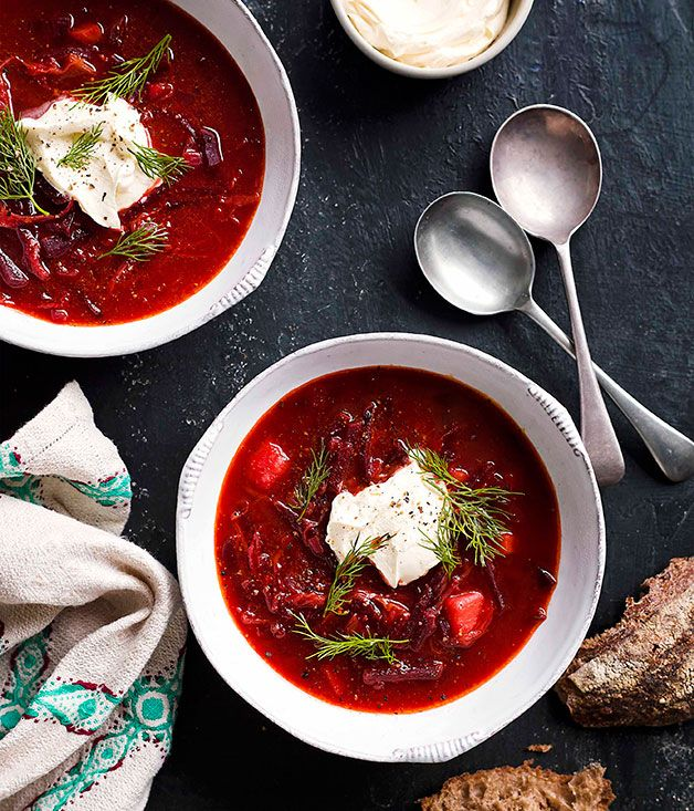 Borscht - Gourmet Traveller - an eastern European dish. This is a perfect winter dish, so savoury and healthy !