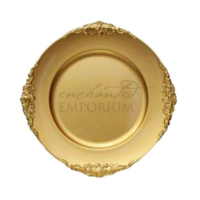 Gold Vintage Charger Plate, Enchanted Emporium