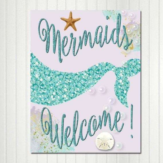 Mermaid Welcome Sign Mermaid Sign Mermaid by CherryBonBonDesigns