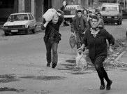 """""""Il secondo sport che va per la maggiore è il parkour, disciplina moderna che consiste nel superare correndo qualsiasi ostacolo urbano""""  Siege of Sarajevo, 1992 - 1996, by Morten Hvaal."""