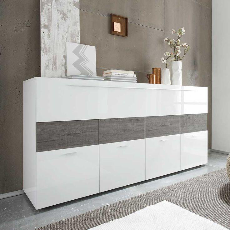 Wohnzimmer Sideboard In Weiss Hochglanz Eiche Grau Modern Jetzt Bestellen Unter
