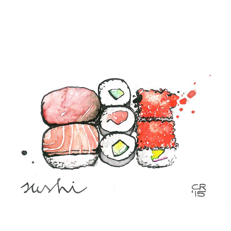 sushi- watercolor and ink on paper