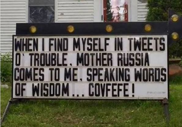 "I gotta ask my Russian speaking relatives what the English translation of ""covfefe"" is..."