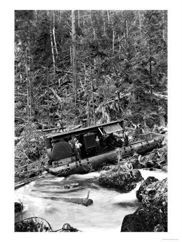 Black and white logging photo's.