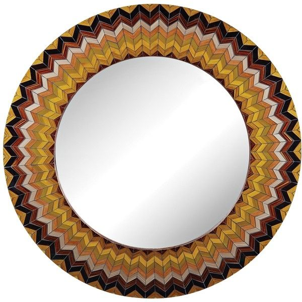 "Earth Starburst Chevron 32"" Round Multi-Color Wall Mirror (450 BAM) ❤ liked on Polyvore featuring home, home decor, mirrors, brown, universal lighting and decor, chevron mirror, colorful home decor, inspirational home decor and brown wall mirror"