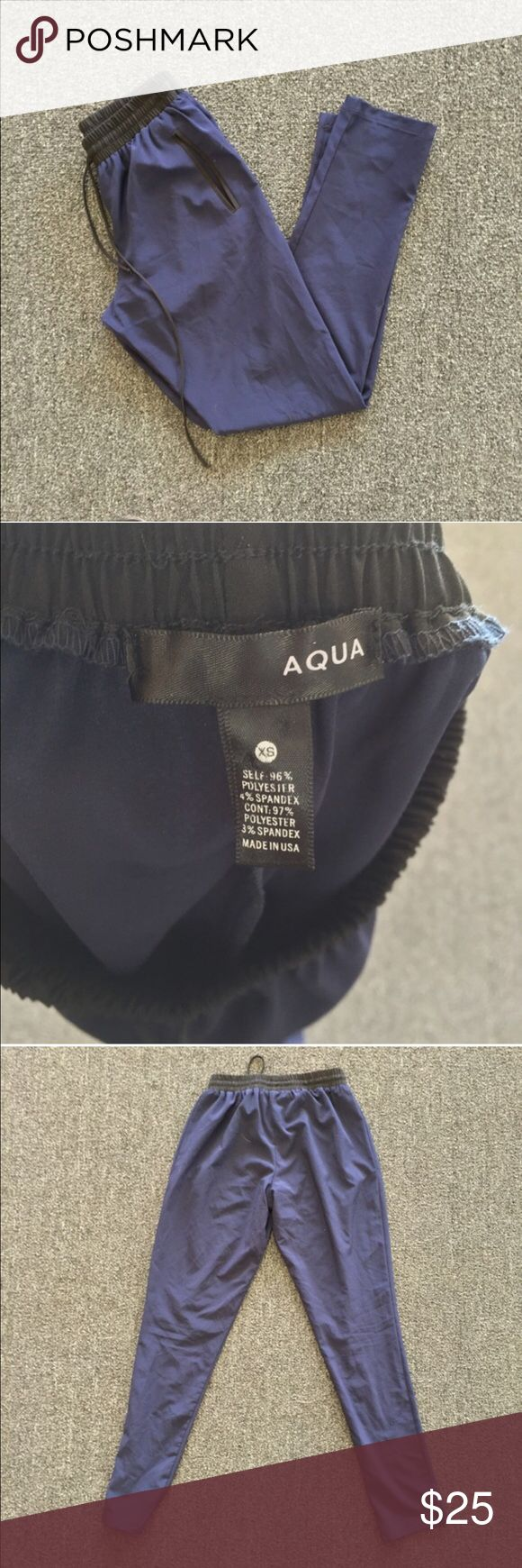 Aqua Navy Blue and Black Joggers Super cute joggers! Excellent condition. Inseam: 28.5 inches. 96% polyester, and 4% spandex. Aqua Pants Track Pants & Joggers