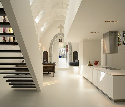 Converted ✞: White Houses, Church Converse, Old Church, Zecc Architecten, Church Pew, Modern Home, White Wall, Abandoned Church, Modern Apartment