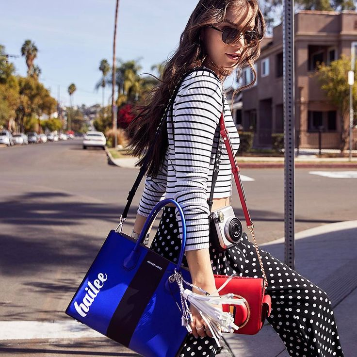 """15.1k Likes, 37 Comments - Michael Kors (@michaelkors) on Instagram: """"Actor and musician @HaileeSteinfeld layers our Mercer tote and Scout camera bag for a picture-…"""""""