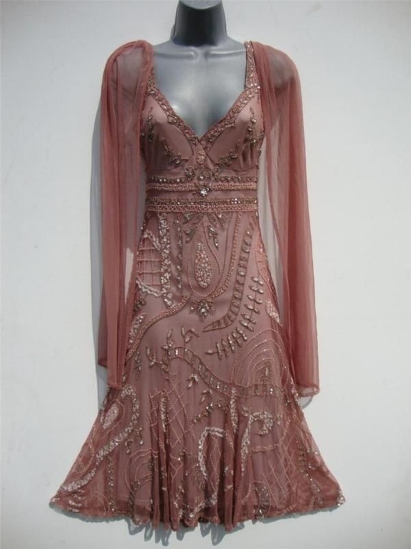 Vintage 20s long bead flapper dress size 10 us 6 gatsby deco wedding sheer nude