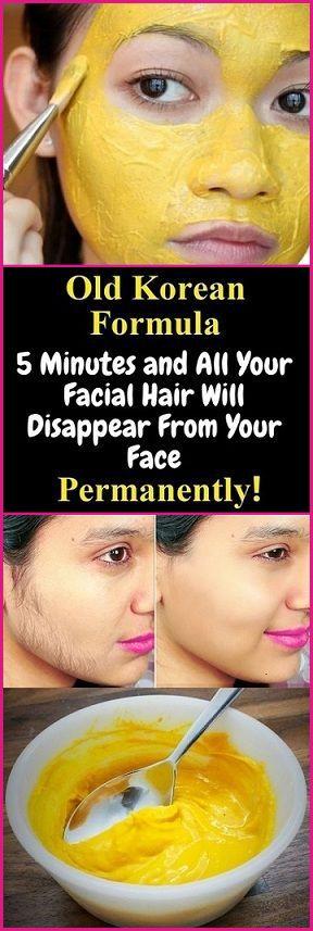 Alte koreanische Formel 5 Minuten und Ihr ganzes Gesichtshaar wird dauerhaft aus Ihrem Gesicht verschwinden!