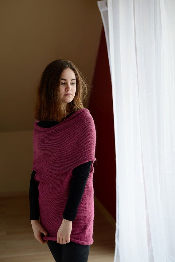 Pink tunel alpaca sweater oversized sweater by Isabellwoolstudio