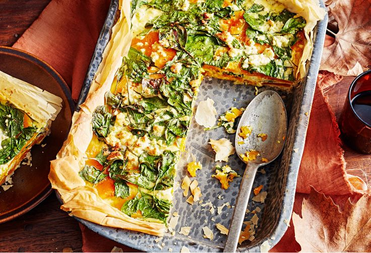 Get a piece of the action with a hot layered slice of pumpkin, cheese, and spinach. There's enough for six!