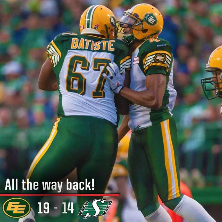 The Edmonton Eskimos scored 19 unanswered points to stymie the Saskatchewan Roughriders 19-14 on Friday Night Football