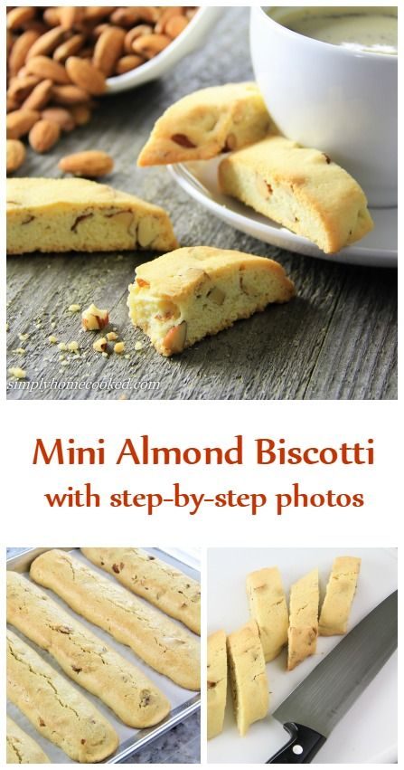 Mini almond biscotti made with coconut oil instead of butter. Perfect with coffee.