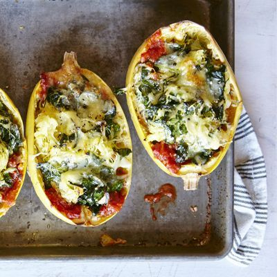 Spaghetti squash noodles transform lasagna into a delightful dinner for less than 400 calories. Find this dish and other veggie-packed recipes on the Cooking Light Diet.