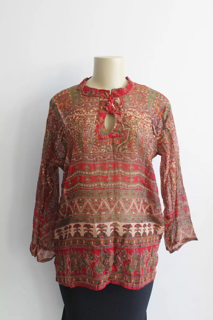 bata estilo indiana estampada étnica blusa camisa