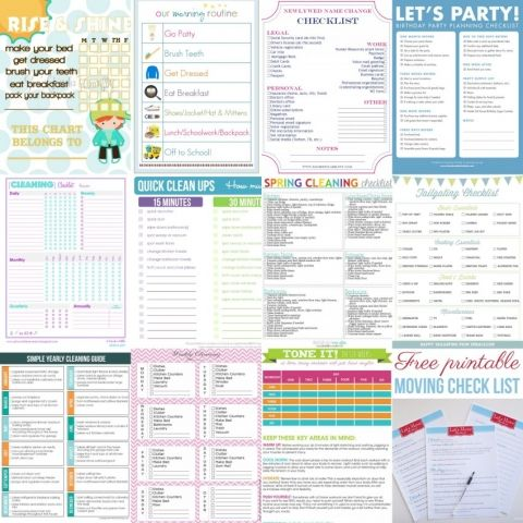 Checklists for everything from blog planning, to babysitters, chores, and workouts. So many fun checklists!