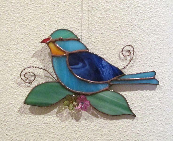 PETIT OISEAU Vitrail Tiffany Artisanal Oiseau CADEAU ORIGINAL : Décorations murales par magie-du-vitrail