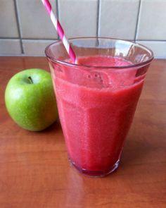 ~ Rode bieten smoothie met rode biet, appel, sinaasappel, citroensap, honing