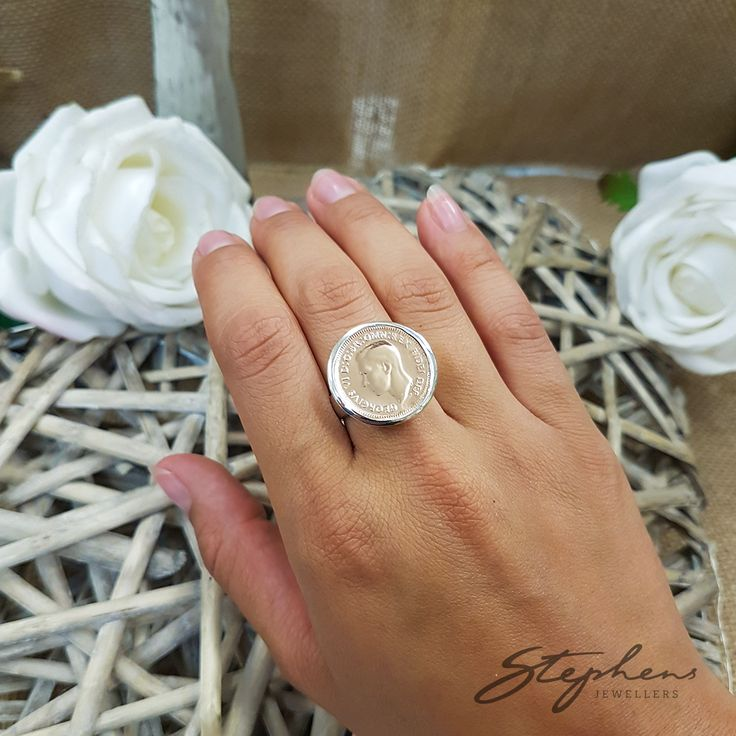 Money With A Difference- Our stunning coin collection is the new fashion. We have them in two tone white and rose plated gold. Come in store to see how this ring looks on your finger! #StephensJewellers #VonTreskow