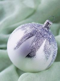 Silvery Snow-Capped Christmas Ornament