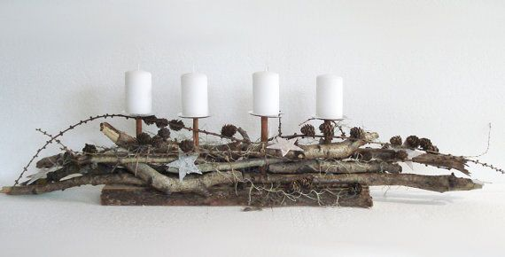 Advent Decoration Woody table decoration by Bluemchengruss on Etsy, €46.80