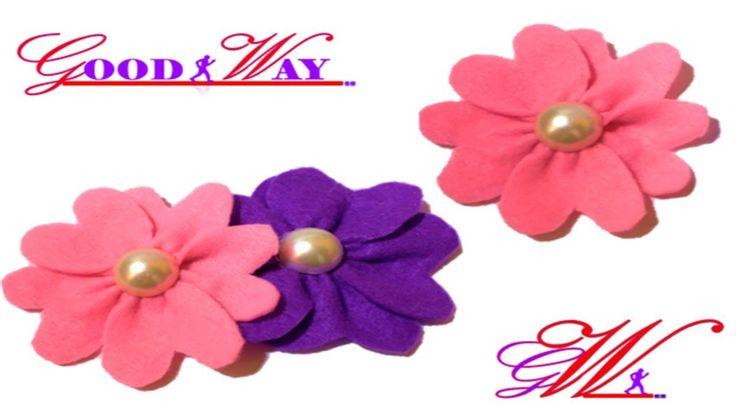 طريقة عمل وردة من قماش الجوخ Make Fabric Flowers Baize Cloth Hand Art Crafts Diy And Crafts