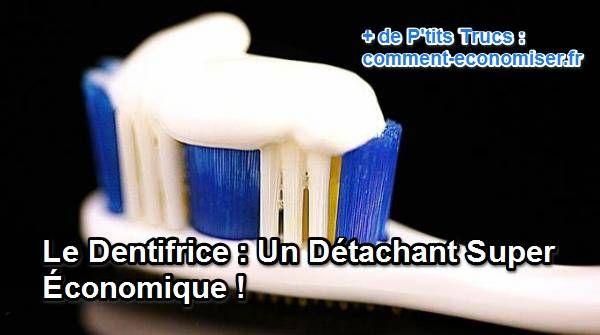 Le dentifrice est un excellent détachant ! Et oui, si vous ne le saviez pas, je vais vous montrer que votre tube de dentifrice peut être utilisé pour nettoyer un tas de petites choses. Découvrez l'astuce ici : http://www.comment-economiser.fr/dentifrice-detachant.html?utm_content=buffer57a94&utm_medium=social&utm_source=pinterest.com&utm_campaign=buffer