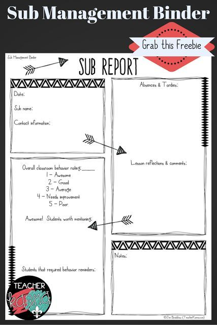 Prepared for a Sub at ANY MOMENT? Grab This FREE Sub Form.   Hey y'all! Jen Bradshaw here fromTeacherKARMA.com  Are you prepared for a sub at ANY MOMENT? Grab yourFREE Sub Formshere and stock up your sub binder.  Best wishes!  Jen Bradshaw  classroom organization sub binder sub form sub management binder sub report substitute binder substitute form substitute management binder teacherkarma.com