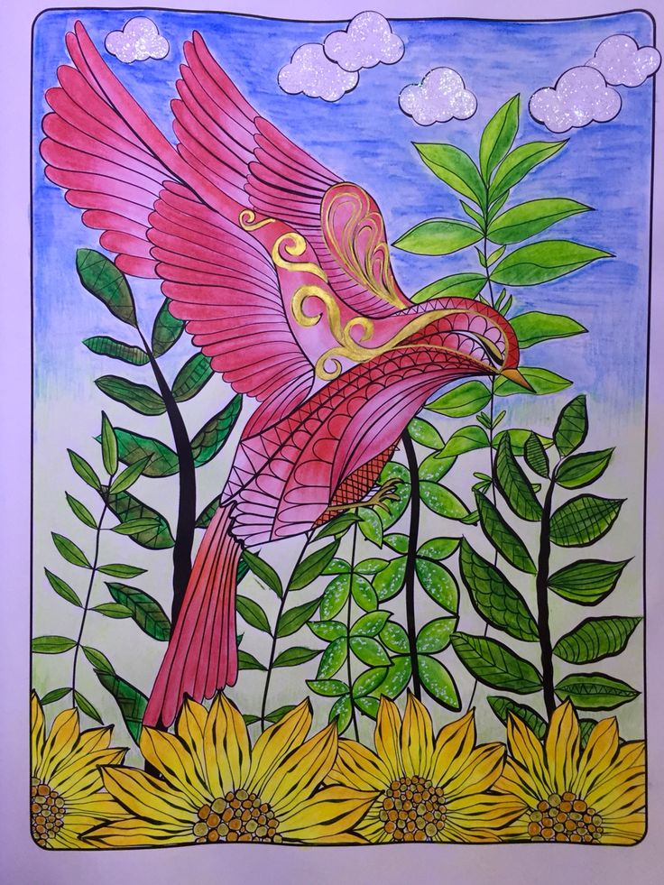 The Red Bird From Nature Designs Colouring Book By Jenean Morrison