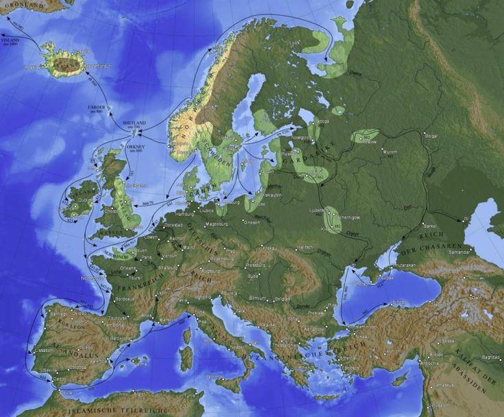Carte des explorations vikings histoire Varegues