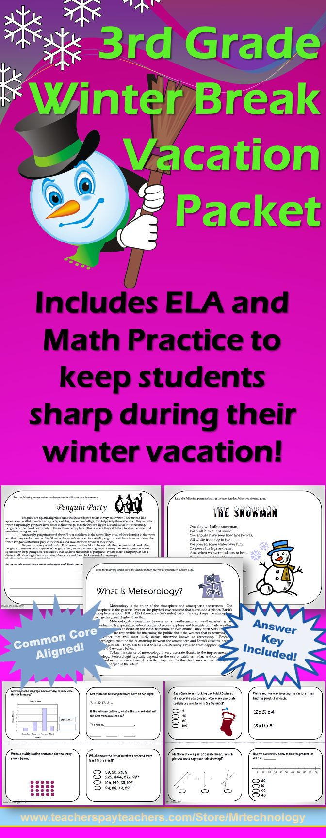 3rd grade winter break vacation packet ccss aligned for Fall break vacation ideas