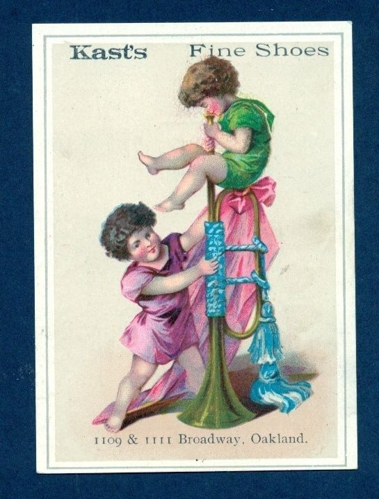 Y7598 Trade Card 3x4 Kast's Fine Shoes, Kids Trumpet