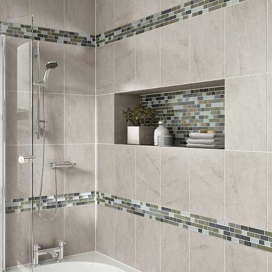 Gallery Website bathroom tile idea Details Photo features Castle Rock x wall tile with Glass Horizons Arctic Blend x Random mosaic as a decorative accent